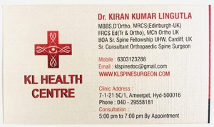 KL Health Centre Clinic|Dr.Kiran Kumar Lingutla|Somajiguda,Hyderabad